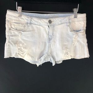Vanilla Star Low Rise Distressed Denim Shorts